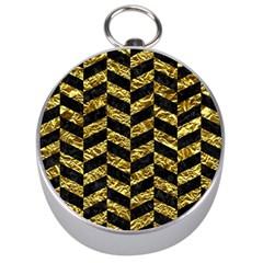 Chevron1 Black Marble & Gold Foil Silver Compasses by trendistuff