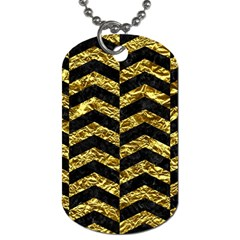 Chevron2 Black Marble & Gold Foil Dog Tag (one Side) by trendistuff