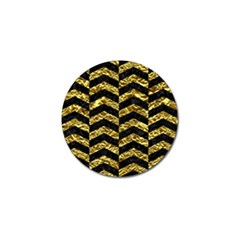 Chevron2 Black Marble & Gold Foil Golf Ball Marker (4 Pack) by trendistuff