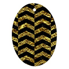 Chevron2 Black Marble & Gold Foil Oval Ornament (two Sides) by trendistuff