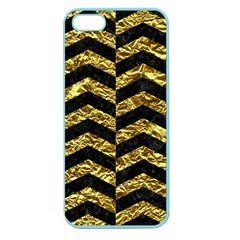 Chevron2 Black Marble & Gold Foil Apple Seamless Iphone 5 Case (color) by trendistuff