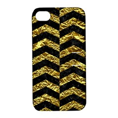 Chevron2 Black Marble & Gold Foil Apple Iphone 4/4s Hardshell Case With Stand by trendistuff