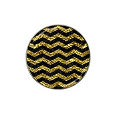 Chevron3 Black Marble & Gold Foil Hat Clip Ball Marker by trendistuff