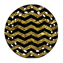 Chevron3 Black Marble & Gold Foil Round Filigree Ornament (two Sides) by trendistuff