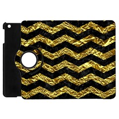 Chevron3 Black Marble & Gold Foil Apple Ipad Mini Flip 360 Case by trendistuff