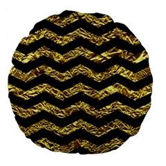 Chevron3 Black Marble & Gold Foil Large 18  Premium Flano Round Cushions by trendistuff
