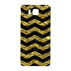 Chevron3 Black Marble & Gold Foil Samsung Galaxy Alpha Hardshell Back Case by trendistuff