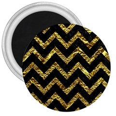Chevron9 Black Marble & Gold Foil 3  Magnets by trendistuff