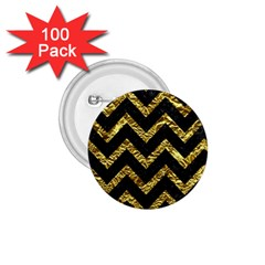 Chevron9 Black Marble & Gold Foil 1 75  Buttons (100 Pack)  by trendistuff