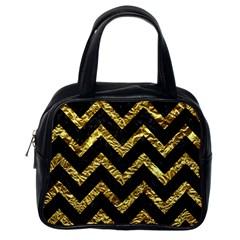 Chevron9 Black Marble & Gold Foil Classic Handbags (one Side) by trendistuff