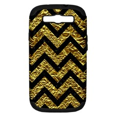 Chevron9 Black Marble & Gold Foil (r) Samsung Galaxy S Iii Hardshell Case (pc+silicone) by trendistuff