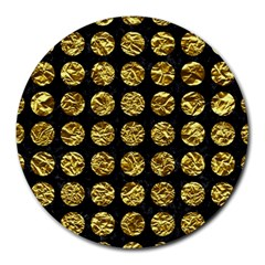 Circles1 Black Marble & Gold Foil Round Mousepads