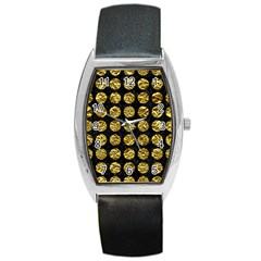 Circles1 Black Marble & Gold Foil Barrel Style Metal Watch by trendistuff
