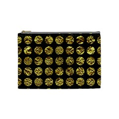 Circles1 Black Marble & Gold Foil Cosmetic Bag (medium)  by trendistuff