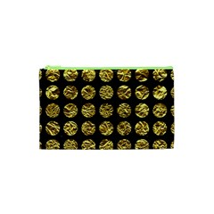 Circles1 Black Marble & Gold Foil Cosmetic Bag (xs) by trendistuff