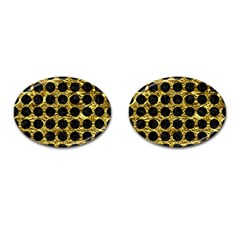 Circles1 Black Marble & Gold Foil (r) Cufflinks (oval) by trendistuff