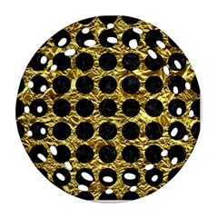 Circles1 Black Marble & Gold Foil (r) Ornament (round Filigree) by trendistuff