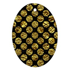 Circles2 Black Marble & Gold Foil Oval Ornament (two Sides) by trendistuff