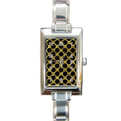Circles2 Black Marble & Gold Foil (r) Rectangle Italian Charm Watch by trendistuff