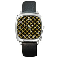 Circles2 Black Marble & Gold Foil (r) Square Metal Watch by trendistuff