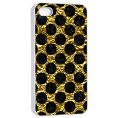 Circles2 Black Marble & Gold Foil (r) Apple Iphone 4/4s Seamless Case (white) by trendistuff