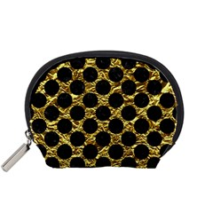 Circles2 Black Marble & Gold Foil (r) Accessory Pouches (small)