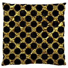 Circles2 Black Marble & Gold Foil (r) Large Flano Cushion Case (two Sides) by trendistuff
