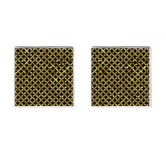 Circles3 Black Marble & Gold Foil Cufflinks (square) by trendistuff