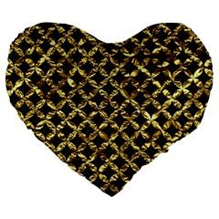 Circles3 Black Marble & Gold Foil Large 19  Premium Flano Heart Shape Cushions