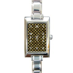 Circles3 Black Marble & Gold Foil (r) Rectangle Italian Charm Watch by trendistuff