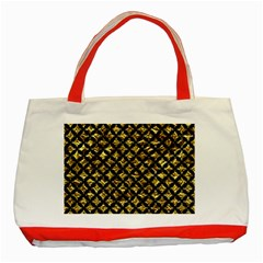 Circles3 Black Marble & Gold Foil (r) Classic Tote Bag (red) by trendistuff