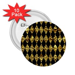 Diamond1 Black Marble & Gold Foil 2 25  Buttons (10 Pack)  by trendistuff