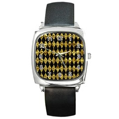 Diamond1 Black Marble & Gold Foil Square Metal Watch by trendistuff