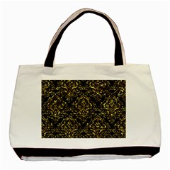 Damask1 Black Marble & Gold Foil Basic Tote Bag (two Sides) by trendistuff