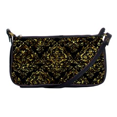 Damask1 Black Marble & Gold Foil Shoulder Clutch Bags by trendistuff