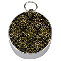 Damask1 Black Marble & Gold Foil Silver Compasses