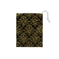 Damask1 Black Marble & Gold Foil Drawstring Pouches (small)  by trendistuff
