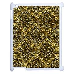 Damask1 Black Marble & Gold Foil (r) Apple Ipad 2 Case (white) by trendistuff