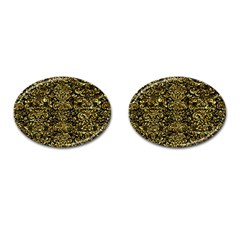Damask2 Black Marble & Gold Foil Cufflinks (oval) by trendistuff
