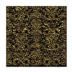 Damask2 Black Marble & Gold Foil Face Towel by trendistuff