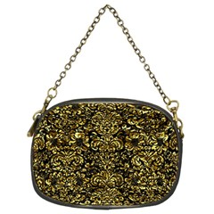 Damask2 Black Marble & Gold Foil Chain Purses (two Sides)  by trendistuff