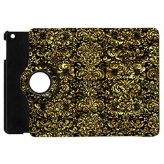 Damask2 Black Marble & Gold Foil Apple Ipad Mini Flip 360 Case by trendistuff