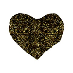 Damask2 Black Marble & Gold Foil Standard 16  Premium Flano Heart Shape Cushions by trendistuff
