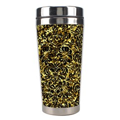 Damask2 Black Marble & Gold Foil (r) Stainless Steel Travel Tumblers by trendistuff