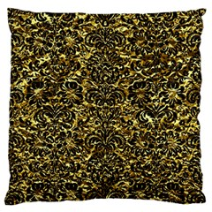 Damask2 Black Marble & Gold Foil (r) Large Flano Cushion Case (two Sides) by trendistuff