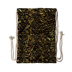 Damask2 Black Marble & Gold Foil (r) Drawstring Bag (small) by trendistuff