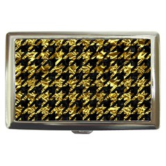 Houndstooth1 Black Marble & Gold Foil Cigarette Money Cases by trendistuff