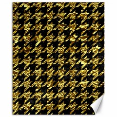 Houndstooth1 Black Marble & Gold Foil Canvas 16  X 20   by trendistuff