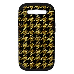 Houndstooth1 Black Marble & Gold Foil Samsung Galaxy S Iii Hardshell Case (pc+silicone) by trendistuff