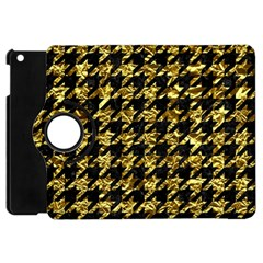 Houndstooth1 Black Marble & Gold Foil Apple Ipad Mini Flip 360 Case by trendistuff